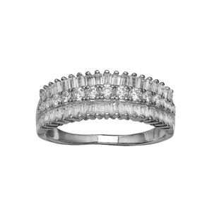 1 ct. Sterling Silver Triple Row Ring